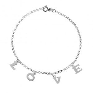 "Jewelry - 925 Sterling Silver Anklet 9"" - LOVE dangling"